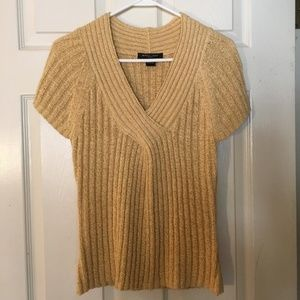 august silk V-neck capped-sleeve sweater